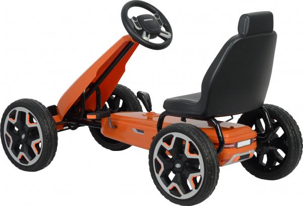Kart Land Rover cu pedale pentru copii, roti cauciuc Eva, portocaliu 1