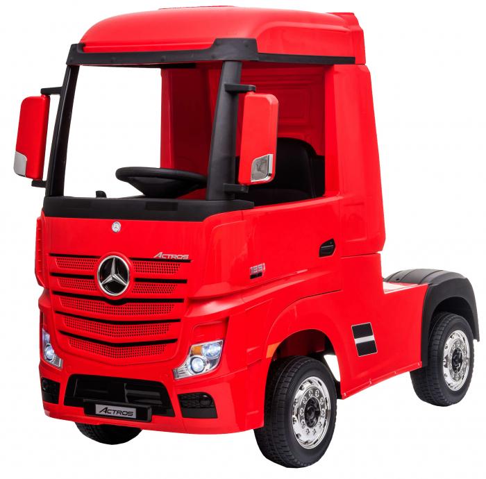 Camion electric Premier Mercedes Actros cu 2 baterii, 4x4, roti cauciuc EVA, scaun piele ecologica, rosu [0]