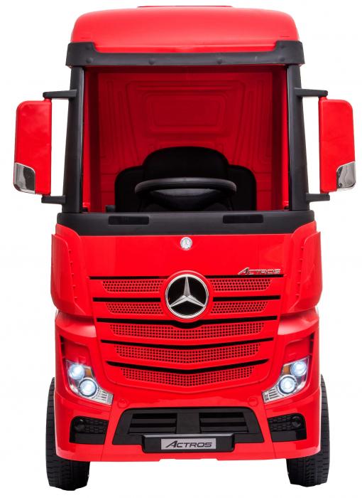 Camion electric Premier Mercedes Actros cu 2 baterii, 4x4, roti cauciuc EVA, scaun piele ecologica, rosu [1]