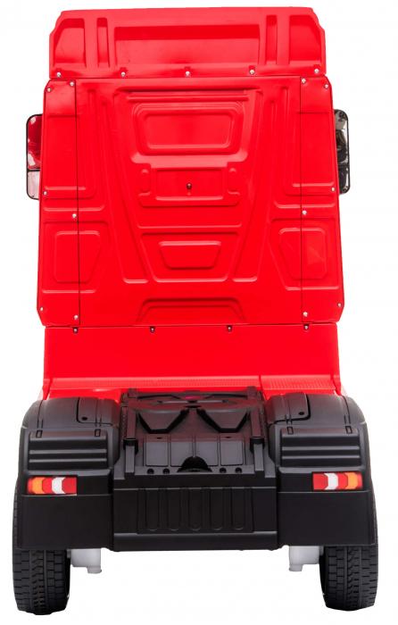 Camion electric Premier Mercedes Actros cu 2 baterii, 4x4, roti cauciuc EVA, scaun piele ecologica, rosu [4]