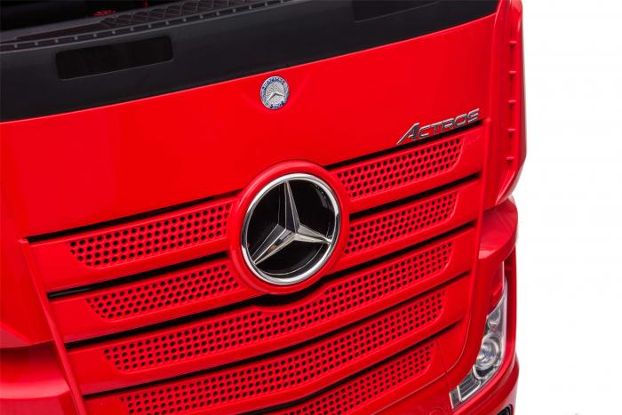 Camion electric Premier Mercedes Actros cu 2 baterii, 4x4, roti cauciuc EVA, scaun piele ecologica, rosu [7]