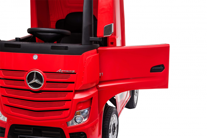 Camion electric Premier Mercedes Actros cu 2 baterii, 4x4, roti cauciuc EVA, scaun piele ecologica, rosu [10]