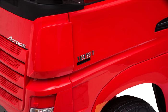 Camion electric Premier Mercedes Actros cu 2 baterii, 4x4, roti cauciuc EVA, scaun piele ecologica, rosu [11]