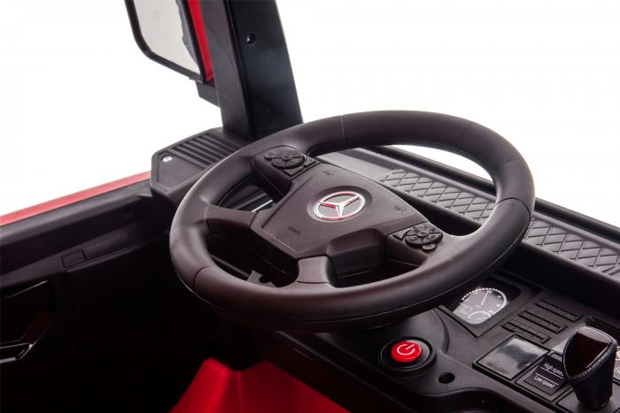 Camion electric Premier Mercedes Actros cu 2 baterii, 4x4, roti cauciuc EVA, scaun piele ecologica, rosu [12]