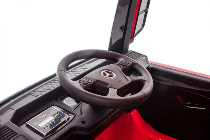 Camion electric Premier Mercedes Actros cu 2 baterii, 4x4, roti cauciuc EVA, scaun piele ecologica, rosu [16]