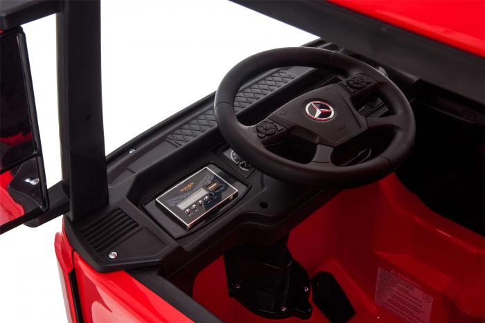 Camion electric Premier Mercedes Actros cu 2 baterii, 4x4, roti cauciuc EVA, scaun piele ecologica, rosu [17]