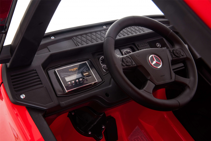 Camion electric Premier Mercedes Actros cu 2 baterii, 4x4, roti cauciuc EVA, scaun piele ecologica, rosu [18]