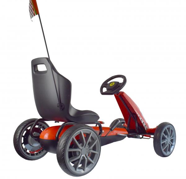 Kart Ferrari cu pedale pentru copii, roti cauciuc Eva, rosu [3]