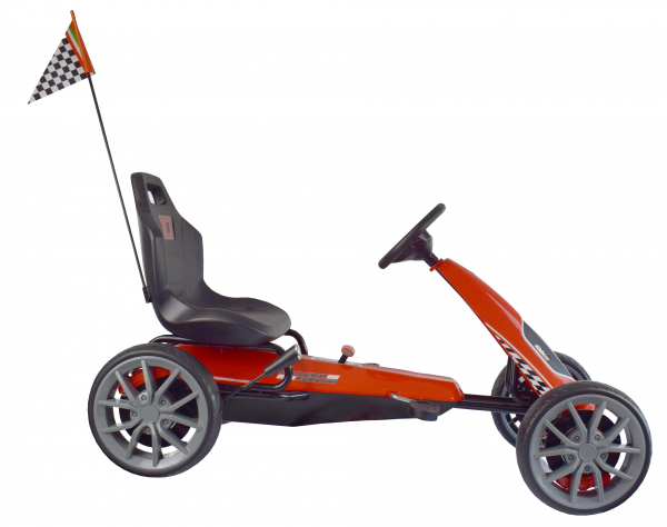 Kart Ferrari cu pedale pentru copii, roti cauciuc Eva, rosu [2]