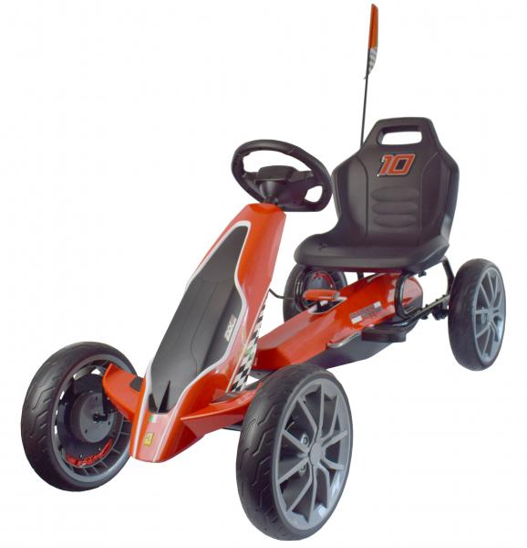 Kart Ferrari cu pedale pentru copii, roti cauciuc Eva, rosu [7]