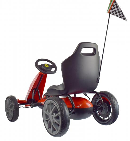 Kart Ferrari cu pedale pentru copii, roti cauciuc Eva, rosu [5]