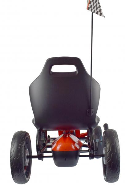 Kart Ferrari cu pedale pentru copii, roti cauciuc Eva, rosu [4]