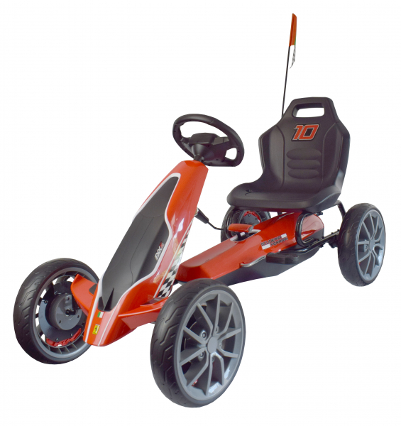 Kart Ferrari cu pedale pentru copii, roti cauciuc Eva, rosu [1]