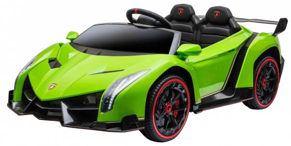 Masinuta electrica 4 x 4 Premier Lamborghini Veneno, 12V, roti cauciuc EVA, scaun piele ecologica, verde [2]