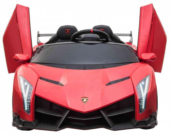 Masinuta electrica 4 x 4 Premier Lamborghini Veneno, 12V, roti cauciuc EVA, scaun piele ecologica, rosu 7