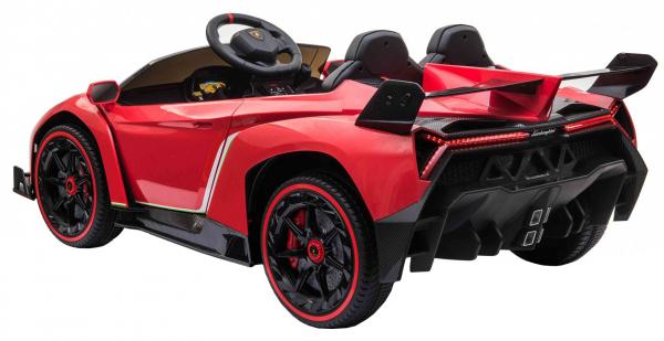 Masinuta electrica 4 x 4 Premier Lamborghini Veneno, 12V, roti cauciuc EVA, scaun piele ecologica, rosu 4