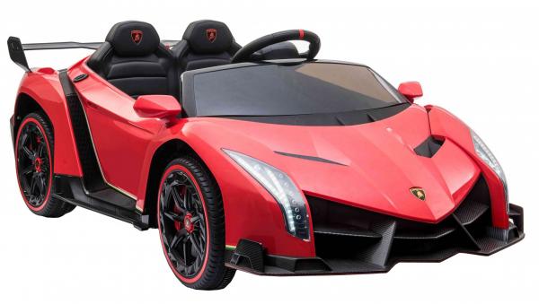 Masinuta electrica 4 x 4 Premier Lamborghini Veneno, 12V, roti cauciuc EVA, scaun piele ecologica, rosu 6
