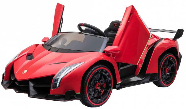 Masinuta electrica 4 x 4 Premier Lamborghini Veneno, 12V, roti cauciuc EVA, scaun piele ecologica, rosu 8
