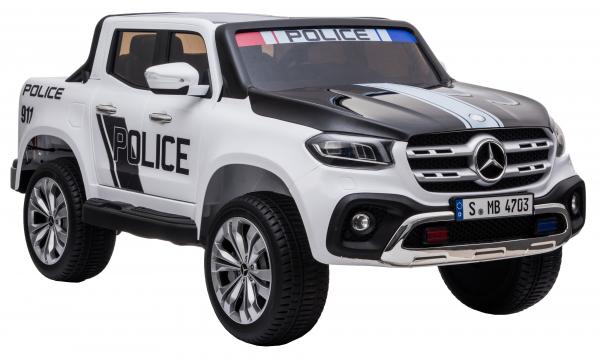 Masinuta electrica 4 x 4 Premier Mercedes X-Class Police, 12V, roti cauciuc EVA, scaun piele ecologica, alb 7