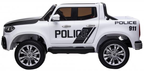 Masinuta electrica 4 x 4 Premier Mercedes X-Class Police, 12V, roti cauciuc EVA, scaun piele ecologica, alb 3