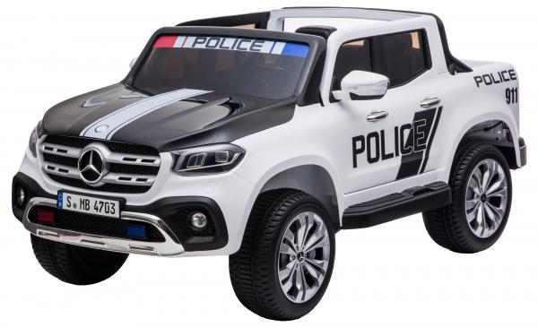 Masinuta electrica 4 x 4 Premier Mercedes X-Class Police, 12V, roti cauciuc EVA, scaun piele ecologica, alb 10