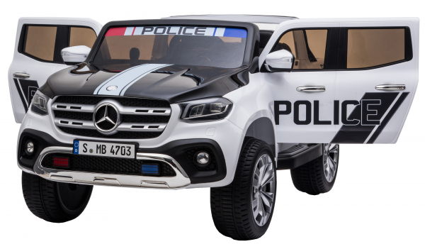 Masinuta electrica 4 x 4 Premier Mercedes X-Class Police, 12V, roti cauciuc EVA, scaun piele ecologica, alb 9