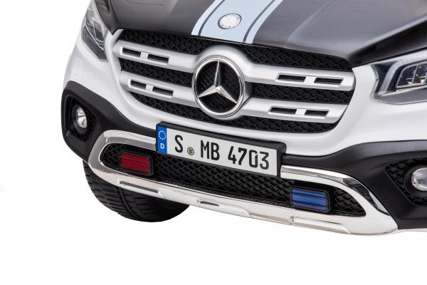 Masinuta electrica 4 x 4 Premier Mercedes X-Class Police, 12V, roti cauciuc EVA, scaun piele ecologica, alb 11