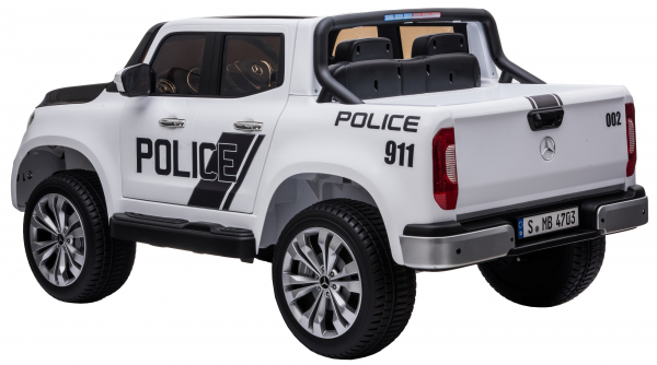 Masinuta electrica 4 x 4 Premier Mercedes X-Class Police, 12V, roti cauciuc EVA, scaun piele ecologica, alb [4]