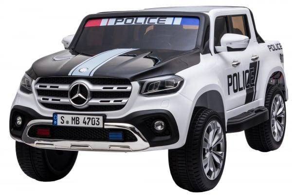 Masinuta electrica 4 x 4 Premier Mercedes X-Class Police, 12V, roti cauciuc EVA, scaun piele ecologica, alb 0