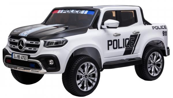 Masinuta electrica 4 x 4 Premier Mercedes X-Class Police, 12V, roti cauciuc EVA, scaun piele ecologica, alb 2