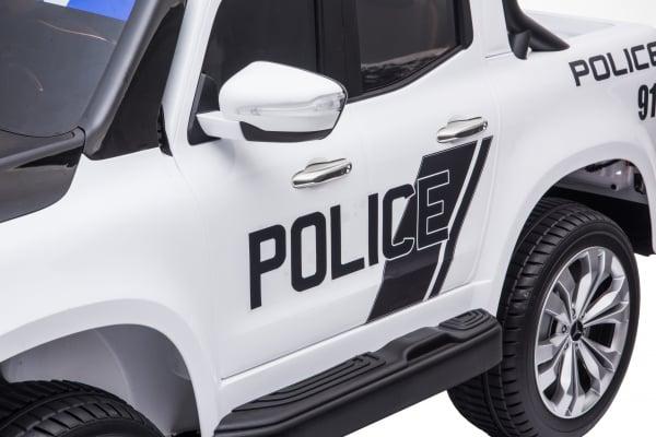 Masinuta electrica 4 x 4 Premier Mercedes X-Class Police, 12V, roti cauciuc EVA, scaun piele ecologica, alb 13
