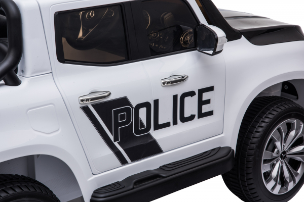 Masinuta electrica 4 x 4 Premier Mercedes X-Class Police, 12V, roti cauciuc EVA, scaun piele ecologica, alb 17