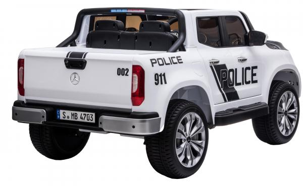 Masinuta electrica 4 x 4 Premier Mercedes X-Class Police, 12V, roti cauciuc EVA, scaun piele ecologica, alb 6