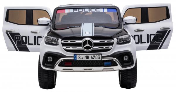 Masinuta electrica 4 x 4 Premier Mercedes X-Class Police, 12V, roti cauciuc EVA, scaun piele ecologica, alb 8