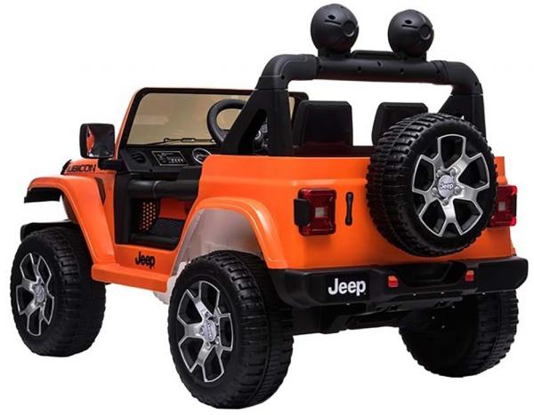 Masinuta electrica 4x4 Premier Jeep Wrangler Rubicon, 12V, roti cauciuc EVA, scaun piele ecologica, portocaliu [5]