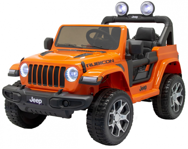 Masinuta electrica 4x4 Premier Jeep Wrangler Rubicon, 12V, roti cauciuc EVA, scaun piele ecologica, portocaliu [0]