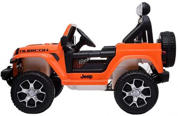 Masinuta electrica 4x4 Premier Jeep Wrangler Rubicon, 12V, roti cauciuc EVA, scaun piele ecologica, portocaliu [9]