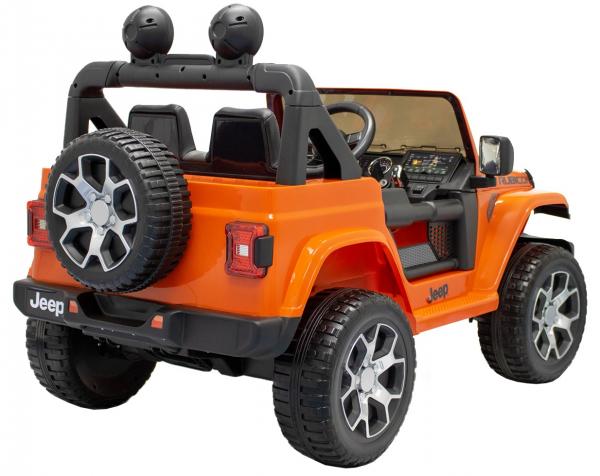 Masinuta electrica 4x4 Premier Jeep Wrangler Rubicon, 12V, roti cauciuc EVA, scaun piele ecologica, portocaliu [12]