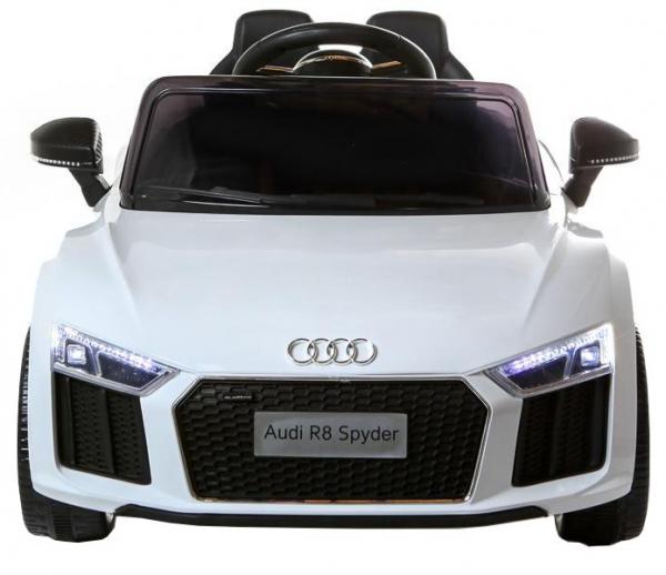 Masinuta electrica Premier Audi R8 Spyder, 12V, roti cauciuc EVA, scaun piele ecologica, alba [1]