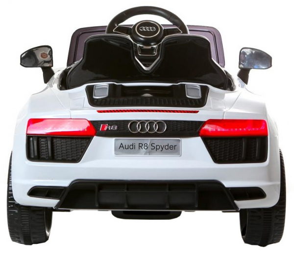 Masinuta electrica Premier Audi R8 Spyder, 12V, roti cauciuc EVA, scaun piele ecologica, alba [2]