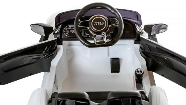 Masinuta electrica Premier Audi R8 Spyder, 12V, roti cauciuc EVA, scaun piele ecologica, alba [9]