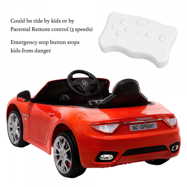 Masinuta electrica Maserati Grancabrio cu power display, sistem troller, roti cauciuc, scaunel din piele 3