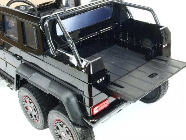 Masinuta electrica Mercedes G63 Duet 6x6, 12V, 6 roti cauciuc EVA, 6 motoare, 2 locuri, scaun piele ecologica, negru 14