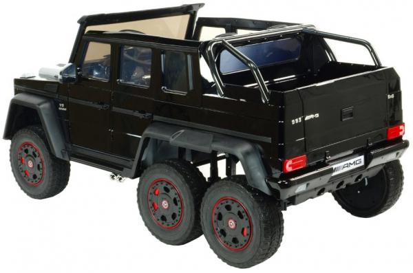 Masinuta electrica Mercedes G63 Duet 6x6, 12V, 6 roti cauciuc EVA, 6 motoare, 2 locuri, scaun piele ecologica, negru 6