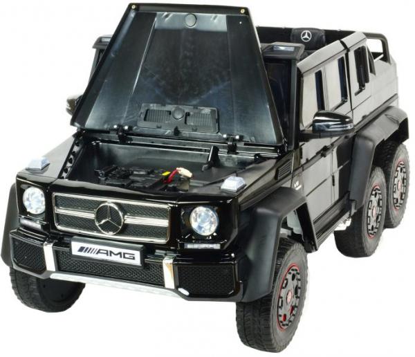 Masinuta electrica Mercedes G63 Duet 6x6, 12V, 6 roti cauciuc EVA, 6 motoare, 2 locuri, scaun piele ecologica, negru 12