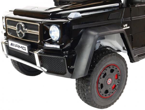 Masinuta electrica Mercedes G63 Duet 6x6, 12V, 6 roti cauciuc EVA, 6 motoare, 2 locuri, scaun piele ecologica, negru 17