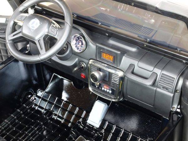 Masinuta electrica Mercedes G63 Duet 6x6, 12V, 6 roti cauciuc EVA, 6 motoare, 2 locuri, scaun piele ecologica, negru 8