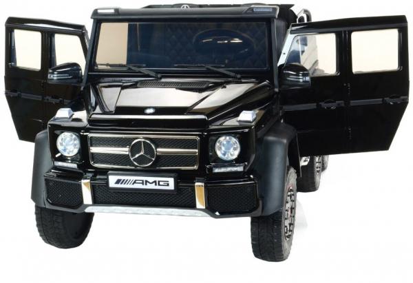 Masinuta electrica Mercedes G63 Duet 6x6, 12V, 6 roti cauciuc EVA, 6 motoare, 2 locuri, scaun piele ecologica, negru 11