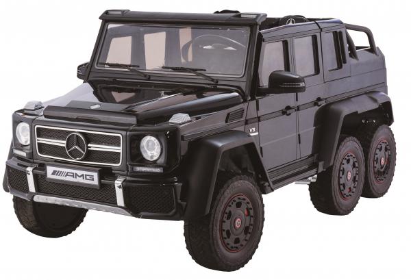 Masinuta electrica Mercedes G63 Duet 6x6, 12V, 6 roti cauciuc EVA, 6 motoare, 2 locuri, scaun piele ecologica, negru 0