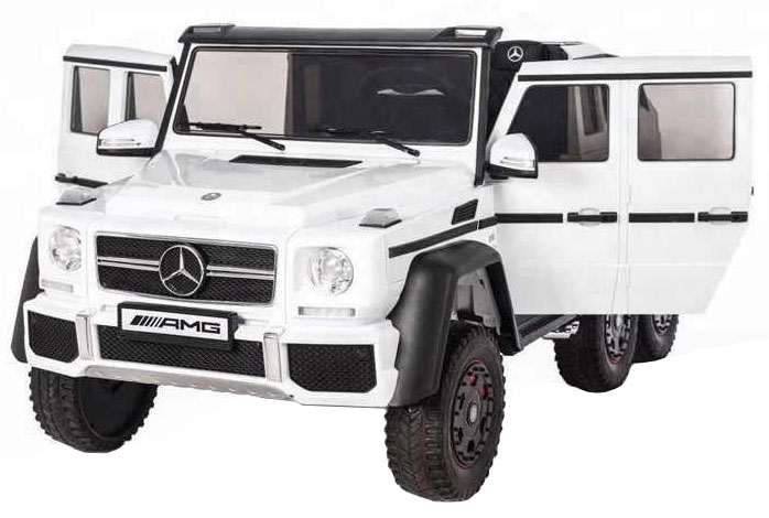 Masinuta electrica Mercedes G63 Duet 6x6, 12V, 6 roti cauciuc EVA, 6 motoare, 2 locuri, scaun piele ecologica, alb [0]